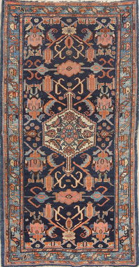 Antique Geometric Malayer Persian Hand-Knotted 3x6 Runner Rug