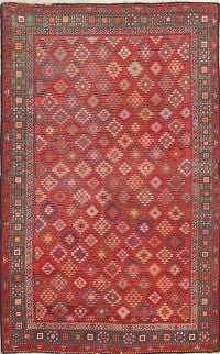 Pre-1900 Antique Kazak Russian Oriental Hand-Knotted 4x7 Wool Area Rug