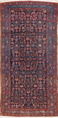 Geometric Blue Malayer Persian Hand-Knotted 3x7 Wool Runner Rug