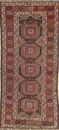 Pre-1900 Antique Qashqai Persian Hand-Knotted 4x8 Wool Runner Rug