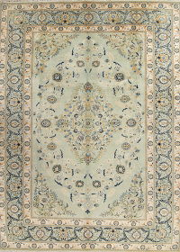 Floral Green Kashan Persian Hand-Knotted 9x13 Wool Area Rug