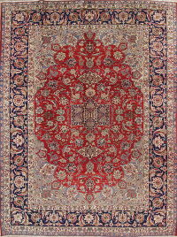 Geometric Red Najafabad Persian Hand-Knotted 9x12 Wool Area Rug