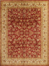 All-Over Floral Red Agra Turkish Oriental 9x13 Wool Area Rug
