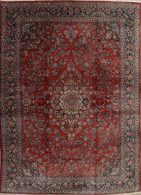 Antique Floral Red Sarouk Persian Hand-Knotted 12x17 Wool Rug