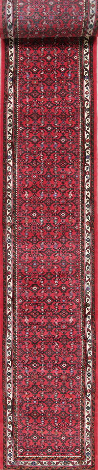 Geometric Red Hossainabad Persian Hand-Knotted 3x29 Wool Runner Rug