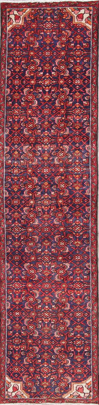 All-Over Hamedan Persian Hand-Knotted 2x10 Wool Runner Rug