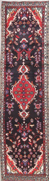 Floral Black Hamedan Persian Hand-Knotted 3x10 Wool Runner Rug