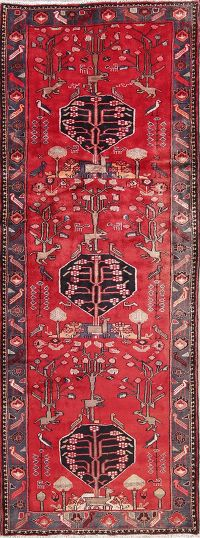 Animal Pictorial Nahavand Persian Hand-Knotted 4x10 Wool Runner Rug
