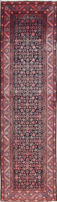 All-Over Navy Blue Hamedan Persian Hand-Knotted 4x13 Wool Runner Rug