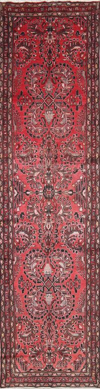Geometric Red Lilian Persian Hand-Knotted 4x14 Wool Runner Rug