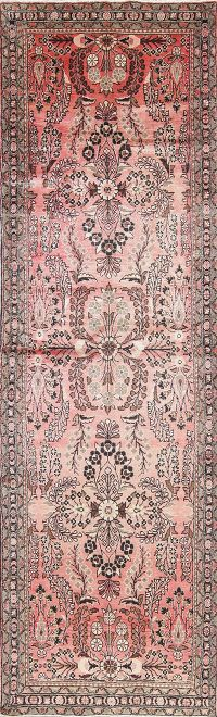 Floral Pink Lilian Persian Hand-Knotted 4x12 Wool Runner Rug