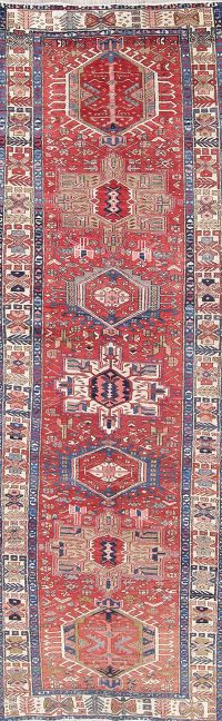 Geometric Red Heriz Persian Hand-Knotted 4x11 Wool Runner Rug