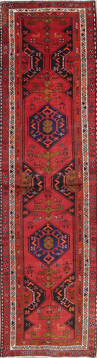 Geometric Red Goravan Persian Hand-Knotted 4x13 Wool Runner Rug