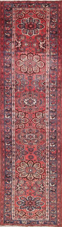 Geometric Red Malayer Persian Hand-Knotted 3x13 Wool Runner Rug