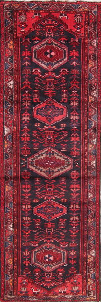 Geometric Hamedan Persian Hand-Knotted 3x10 Wool Runner Rug