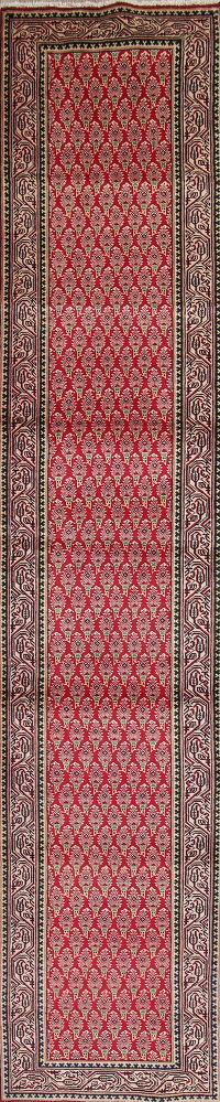 Geometric Red Tabriz Persian Hand-Knotted 3x13 Wool Runner Rug