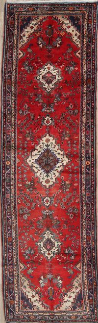 Floral Red Malayer Persian Hand-Knotted 4x13 Wool Runner Rug