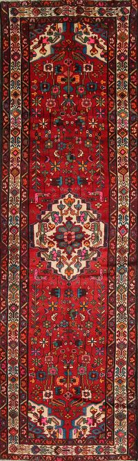 Geometric Red Hamedan Persian Hand-Knotted 4x12 Wool Runner Rug