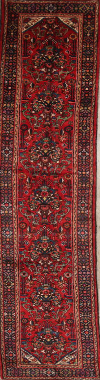 Red Malayer hamedan Persian Hand-Knotted 3x14 Wool Runner Rug