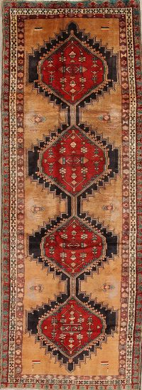 Geometric Ardebil Persian Hand-Knotted 4x11 Wool Runner Rug