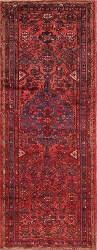 Geometric Red Hamedan Persian Hand-Knotted 3x9 Wool Runner Rug