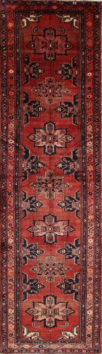 Geometric Red Gharajeh Persian Hand-Knotted 3x13 Wool Runner Rug