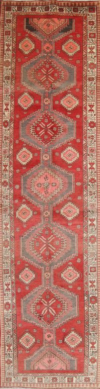 Geometric Red Ardebil Persian Hand-Knotted 4x13 Wool Runner Rug