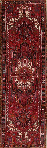 Geometric Red Heriz Persian Hand-Knotted 3x11 Wool Runner Rug