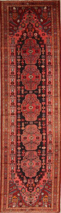 Geometric Malayer Persian Hand-Knotted 4x14 Wool Runner Rug