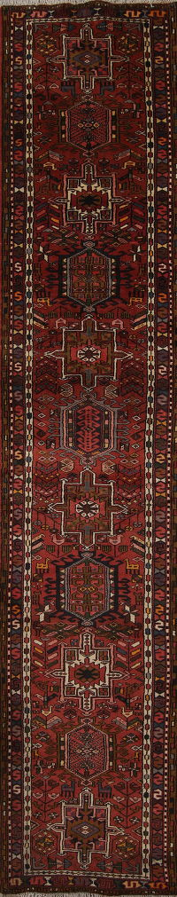 Tribal Geometric Gharajeh Persian Hand-Knotted 3x13 Wool Runner Rug