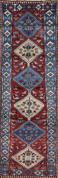 South-Western Tribal Yalameh Persian Hand-Knotted 3x9 Wool Runner Rug