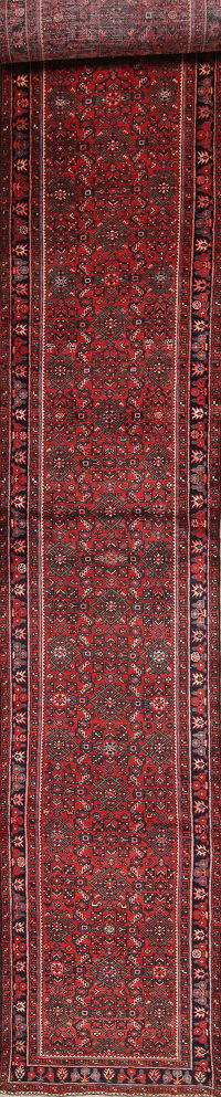 All-Over Red Hossainabad Persian Hand-Knotted 3x21 Wool Runner Rug