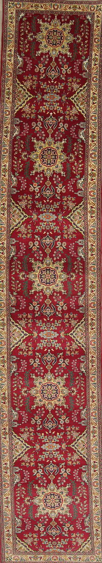 Floral Red Tabriz Persian Hand-Knotted 3x16 Wool Runner Rug