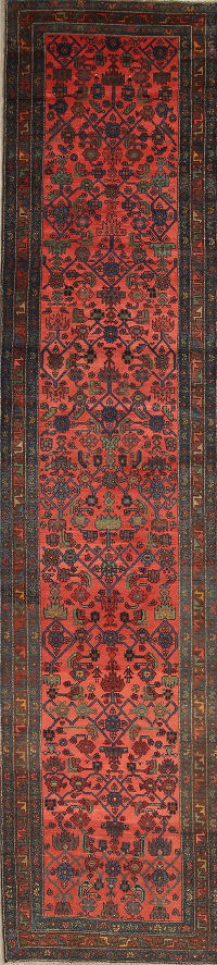 Vegetable Dye Antique Bakhtiari Persian 3x15 Wool Runner Rug