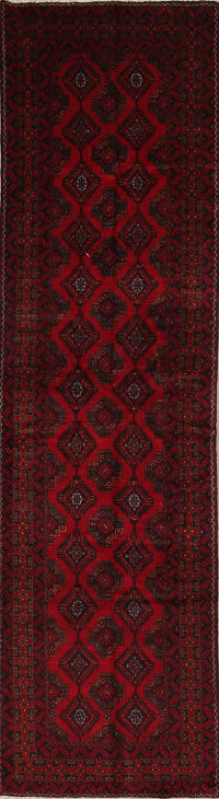 Geometric Red Balouch Persian Hand-Knotted 3x12 Wool Runner Rug