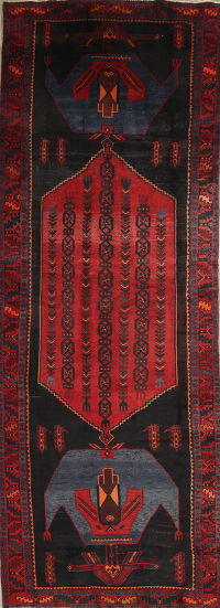 Geometric Red Bidjar Persian Hand-Knotted 5x14 Wool Runner Rug