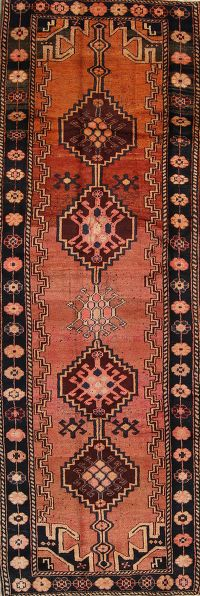Antique Geometric Bidjar Persian Hand-Knotted 4x13 Wool Runner Rug