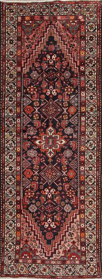 Tribal Geometric Bakhtiari Persian Hand-Knotted 4x10 Wool Runner Rug