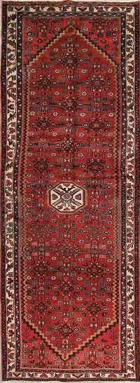 Geometric Red Malayer Persian Hand-Knotted 4x10 Wool Runner Rug