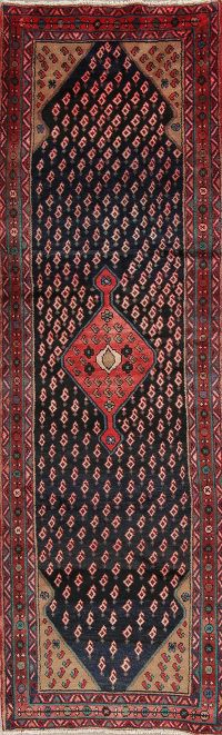 Boteh Design Malayer Persian Hand-Knotted 3x10 Wool Runner Rug
