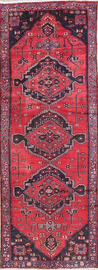 Geometric Red Bakhtiari Persian Hand-Knotted 4x10 Wool Runner Rug