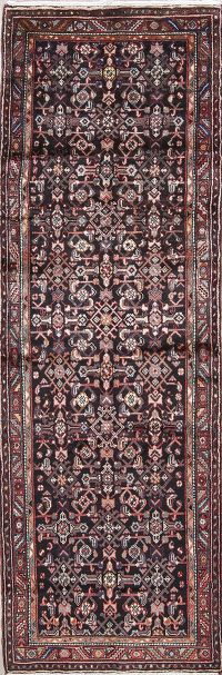 Geometric Black Hamedan Persian Hand-Knotted 3x10 Wool Runner Rug