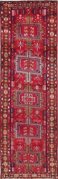Geometric Red Heriz Persian Hand-Knotted 3x10 Wool Runner Rug