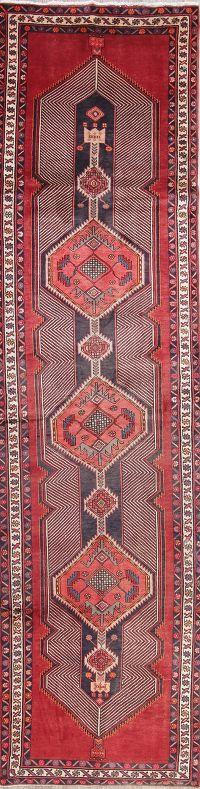 Geometric Meshkin Persian Hand-Knotted 4x13 Wool Runner Rug