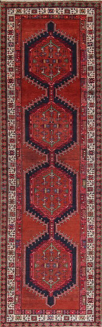 Geometric Red Ardebil Persian Hand-Knotted 3x11 Wool Runner Rug