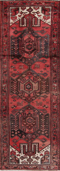 Tribal Red Hamedan Persian Hand-Knotted 4x10 Wool Runner Rug