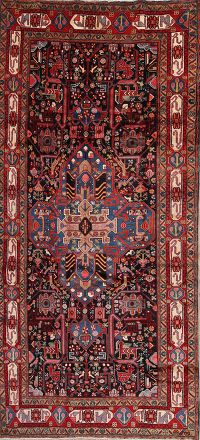 Tribal Black Nahavand Persian Hand-Knotted 5x10 Wool Runner Rug