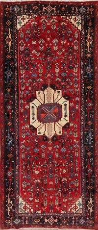 Tribal Geometric Bidjar Persian Hand-Knotted 4x10 Wool Runner Rug