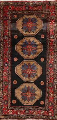 Geometric Black Hamedan Persian Hand-Knotted 4x8 Wool Runner Rug