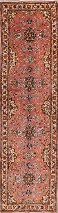 Floral Tabriz Persian Hand-Knotted 3X12 Wool Runner Rug